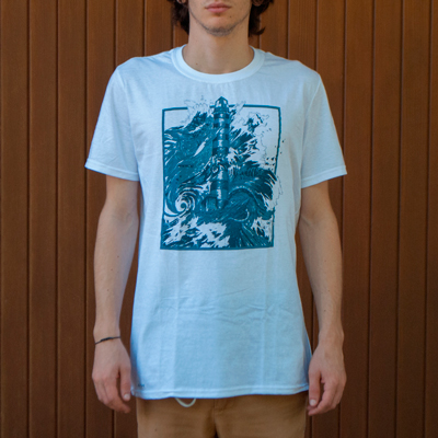 <p class=makeinvisible>White t-shirt, 100% cotton, with a silkscreen print hand-pulled with blue and light blue water-based ink. Produced in a limited edition of 100 t-shirts, individually numbered. Original illustration by Seriousgrafia. Hand-printed in Italy.</p> Sold Out